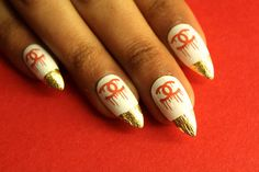 Bleeding Chanel Red & White Nail Decals  Waterslide by Nailcat Nail Art Nail Covers Nail Wraps Nail Design Chanel Deigner Gold leaf Spike nails