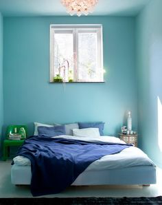A Colorful Scandinavian Home with Styling by Dennis Valencia. Paint from Farrow & Ball. Love it that the ceiling is painted the same color as the walls. Blue Wall Colors, Bedroom Wall Colors, Bedroom Color Schemes, Blue Bedroom, Master Bedroom, Bedroom Decor, Blue Rooms, Blue Walls, Style At Home