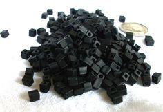 4mm+x+4mm+Matte+Black+Miyuki+Cube+Beads+by+beadartjewelrysupply,+$1.48