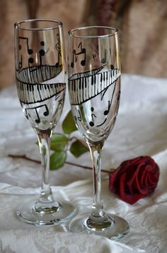 Let it play on Symphony Handpainted Champagne Flute Pair