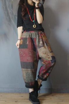 Women's Pants in Vintage Cotton Linen Not Positioning Printing Full Length Elastic Harem As The Photo One Size Winter Hand Wash Grunge Outfits, Boho Outfits, Grunge Fashion, Boho Fashion, Cute Outfits, Fashion Outfits, Cute Hippie Outfits, Ethnic Fashion, Grunge Clothes