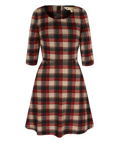 Look at this #zulilyfind! Red Plaid Belted Dress by Yumi #zulilyfinds