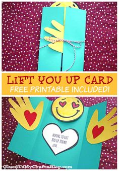 Make someone smile today with our latest UPLIFTING kid craft tutorial! Come see our handprint lift you up card idea come to life within minutes! Mothers Day Crafts For Kids, Crafts For Kids To Make, Toddler Crafts, Preschool Crafts, Free Get Well Cards, Card Making For Kids, Diy Birthday Gifts For Mom, Best Wishes Card, Teacher Cards