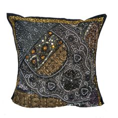 "16"" Indian Cotton Traditional Pillow Beaded Patch Work Handmade Cushion Cover n2 #Unbranded #ArtDecoStyle"