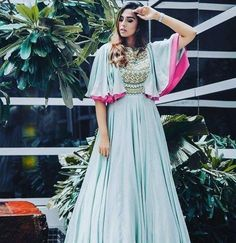 Beautiful blue pink cape style gown by Puwin Couture Surat Indian Gowns, Indian Attire, Pakistani Dresses, Indian Outfits, Indian Wear, Sari, Lehenga Choli, Anarkali Dress, India Fashion