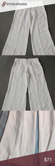 Elevenses Sz 8 White Linen Pants Elevenses by Anthropologie White, 100% Linen, Wide Leg, Pants in excellent Condition!  Super cute💗 I hate to let go of them.. just too big for me.  I should have purchased a Sz 6 these are a Sz 8.  They have been hanging in my closet for a few years.  Worn maybe twice.  All my items are from a smoke free home and offers are always welcome 💗🛍💗 Anthropologie Pants Wide Leg