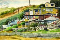 Steve Santmyer - Crystal Cove, California art, original California watercolor art for sale, fine art print for sale, giclee watercolor print - CaliforniaWatercolor.com
