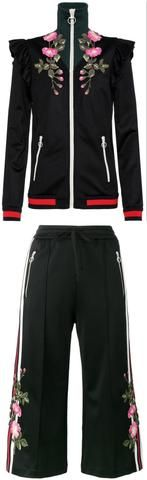 Embroidered Technical Jersey Jacket and Embroidered Wide Leg Jogging Pants, Black