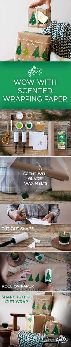 Take your gift-wrapping game from meh to must-see with this scented stamped wrapping paper DIY. To get started, place paper in a Ziploc® bag with our Timeless Joy Wax Melts until it's scented to your liking. Then, cut festive shapes out of craft foam. Stick the shapes on a lint roller and roll it around in paint. Next, use the lint roller to stamp your now scented paper. Wait for it to dry and then prepare yourself for a seriously joyful giftwrapping session. Feel Joy. Feel Glade.