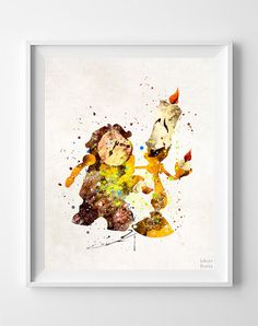 Beauty and the Beast, Cogsworth Print, Lumiere Print, Cogsworth, Watercolor Art, Lumiere, Disney Poster, Nursery Posters, Valentines Day
