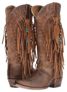 Ariat - Brisco Fringe Cowboy Boots use my referral and get a HUGE discount Fringe Cowboy Boots, Cowboy Boots Women, Cowgirl Boots, Western Boots, Country Boots, Dresses With Cowboy Boots, Cowgirl Chic, Western Cowboy, Western Style