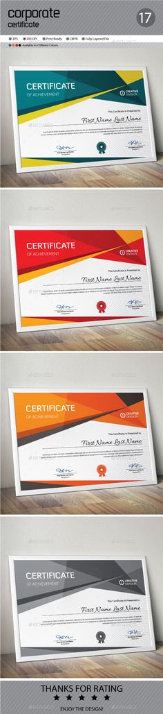 Buy Certificate by ConceptFactory on GraphicRiver. Certificate is especially for Corporate or Professional use. 4 different color and easy to modify. Just select the gl. Achievement First, Certificate Of Achievement, Certificate Design, Certificate Templates, Stationery Templates, Print Templates, Information Graphics, Print Design, Print Print
