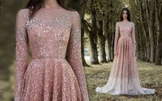 """Rose gold dragonfly gossamer wing-inspired high neck long sleeved wedding dress by Paolo Sebastian // Beautiful couture wedding gown inspiration from Paolo Sebastian's 2016/2017 Autumn Winter """"Gilded Wings"""" collection {Facebook and Instagram: The Wedding Scoop}"""