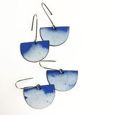 Blue sky earrings.  Polymer and oxidized staring silver. Genevieve Williamson