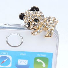 wholesale White Diamond Decorated Panda Shape Design Alloy Anti-Dust Plug:Asujewelry.com