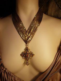 HUge vintage Czech jeweled cross on ornate mesh by vintagesparkles, $275.00