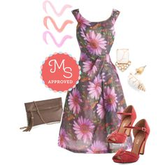 In this outfit: Down to a Fine Art Dress in Garden, My Lip Lot is Poppin' Crayons in Daytime, Bring the Dazzle Earrings, Refine By Me Bag in Taupe, Step to the Rhythm Heel in Red #floral #dresses #modcloth #vintage #heels #specialoccasion #promdress #prom #floraldresses #cute #ootd #spring
