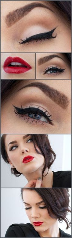 I love this vintage make-up look, probably my fave! Makeup Tips and Tutorials! Vintage Triple Winged Eyeliner and make-up Pretty Makeup, Love Makeup, Makeup Tips, Hair Makeup, Makeup Ideas, Prom Makeup, Makeup Tutorials, Gorgeous Makeup, Classy Makeup