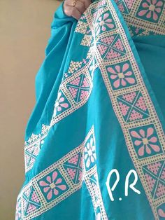 Saree Embroidery Design, Basic Embroidery Stitches, Hardanger Embroidery, Creative Embroidery, Embroidery Suits, Hand Embroidery Designs, Kutch Work Saree, Kutch Work Designs, Casual Trends