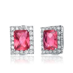 Collette Z Sterling Silver Bright Red & Clear Cubic Zirconia Rectangle Earrings