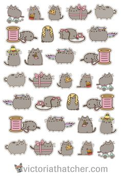 Free Printable Pusheen Planner Stickers from Victoria Thatcher