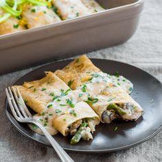 Seared asparagus, tender mushrooms, and lemony bechamel make for the ...