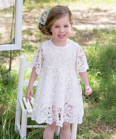 This White Charlotte Lace Dress - Toddler & Girls by Sweet Charlotte is perfect! #zulilyfinds