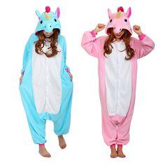 Pink Unicorn Pajamas Sets Flannel Pajamas Winter Nightie Kigurumi Pyjamas Unisex Cosplay Costume for Men Women Adults