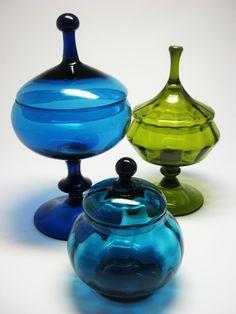 Murano Empoli Glass Avocado Green Circus Tent Lidded Covered Candy Jar Bowl | eBay