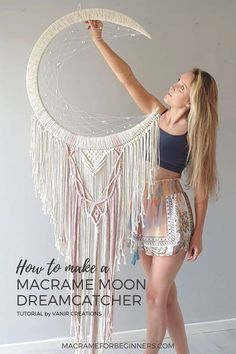 It's hard not to immediately fall in love with the beautiful #Macrame Moon Dreamcatchers by Rebecca Millar from Vanir Creations! Learn how to make your own Dreamcatcher with 5 of her best video… More Macrame Supplies, Macrame Projects, Macrame Design, Macrame Art, Dream Catcher Craft, Dream Catchers, Dream Catcher Tutorial, Free Macrame Patterns, Moon Dreamcatcher