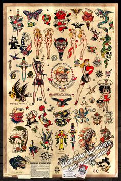 "Sailor Jerry Tattoo Flash #2 - Poster Print 24""x36"" - Free Shipping in U.S. by MarkPaintAndPrints on Etsy https://www.etsy.com/listing/211923423/sailor-jerry-tattoo-flash-2-poster-print"