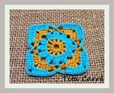 Square flor azul e amarelo em crochet e algumas imagens em verde e amarelo