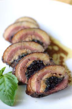 Magret farci au foie gras et à la confiture d'oignons
