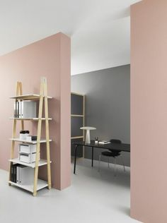 Soft pale pink living room walls. For a similar paint shade, try ...