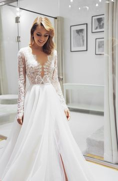 Slit Wedding Dress, Wedding Bridesmaid Dresses, Dream Wedding Dresses, Designer Wedding Dresses, Bridal Dresses, Wedding Gowns, Formal Dresses With Sleeves, Dream Dress, Pretty Dresses