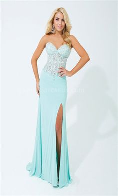 Light Blue Strapless Dress with Sweetheart Neckline and Thigh-High Split