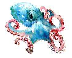 Octopus Design Painting - Octopus by Suren Nersisyan Octopus Drawing, Octopus Painting, Octopus Wall Art, Cute Octopus, Watercolor Sea, Watercolor Artwork, Watercolor Illustration, Octopus Design, Underwater Art