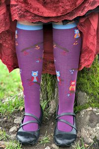 Curious, bright owls perch on the tree growing up the backs* of these pretty plum socks with contrast brown heel, toe and cuff.