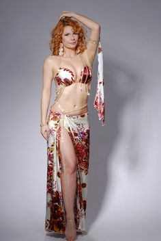 silk or satin floral belly dance costume idea