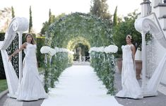 White Enchanted wedding aisle with greenery and flower decorated arch Wedding Backdrops, Wedding Venues, Flower Decorations, Wedding Decorations, Wedding Entrance, Enchanted, Greenery, Floral Design, Arch