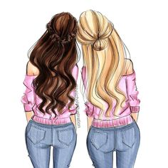 """It takes two"", a new print with several color options at hnillustration. ""It takes two"", a new print with several color options at hnillustration. Bff Pics, Bff Pictures, Best Friend Pictures, Bff Images, Best Friend Drawings, Girly Drawings, Cool Art Drawings, Friends Sketch, Girly M"