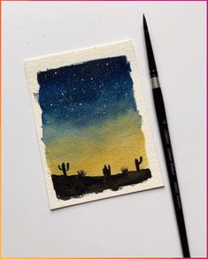 Easy watercolor desert - Easy watercolor sunset desert - - Art World Watercolor Sunset, Watercolour Painting, Simple Watercolor, Watercolor Landscape, Sunset Acrylic Painting, Landscape Paintings, Watercolour Drawings, Underwater Painting, Watercolor Video