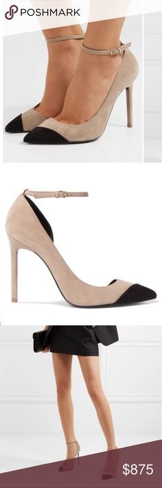 YSL Anja two-tone suede pumps Brand new with box! Brand new with box! - Heel measures approximately 105mm/ 4 inches - Sand and black suede - Buckle-fastening ankle strap - Designer color: Chamois  Saint Laurent's pumps are named after Anja Rubik - the Polish model and influencer is both a muse and friend to Creative Director Anthony Vaccarello. Yves Saint Laurent Shoes