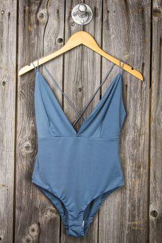 Spaghetti Strap Back Deep V Bodysuit - Dusty Blue