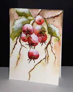 A white Christmas in a snow coat is a big boost to holiday magic! The choice of white for Christmas decorations also allows a result of the most chic, without fault of taste possible! Watercolor Christmas Cards, Watercolor Cards, Watercolor Flowers, Watercolor Paintings, Watercolors, Watercolor Print, Christmas Paintings, Christmas Art, Watercolor Pictures