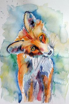 ARTFINDER: Red fox watching by Kovács Anna Brigitta - Original watercolour painting on high quality watercolour paper. I love landscapes, still life, nature and wildlife, lights and shadows, colorful sight. Thes...