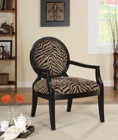 Exceptionnel Coaster Accent Seating Louis Style Animal Print Accent Chair With Exposed  Wood Arms   Coaster Fine Furniture