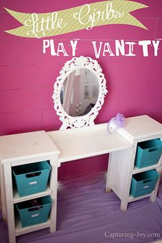 Little Girls Play Vanity Table. Can I have one of these just for me? Increase the mirror size, upholster a stool to make it cute (metal scroll if I can find one to upcycle), and pretty baskets (or make a pretty fabric liner for them-maybe with PUL which is easy cleanup in case of powder spill?) for makeup.