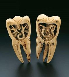 the toothworm, carved in the 1700s