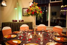 Tall Gold Fall Centerpieces